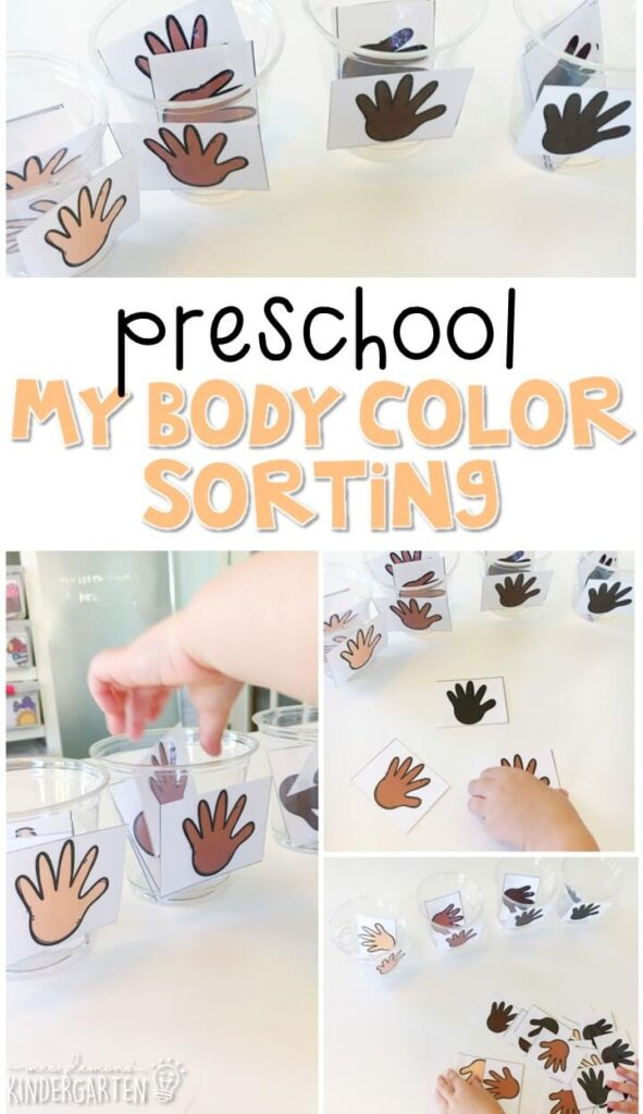 This skin color sorting activity is an easy way to practice sorting by color with a human body theme. Great for tot school, preschool, or even kindergarten!