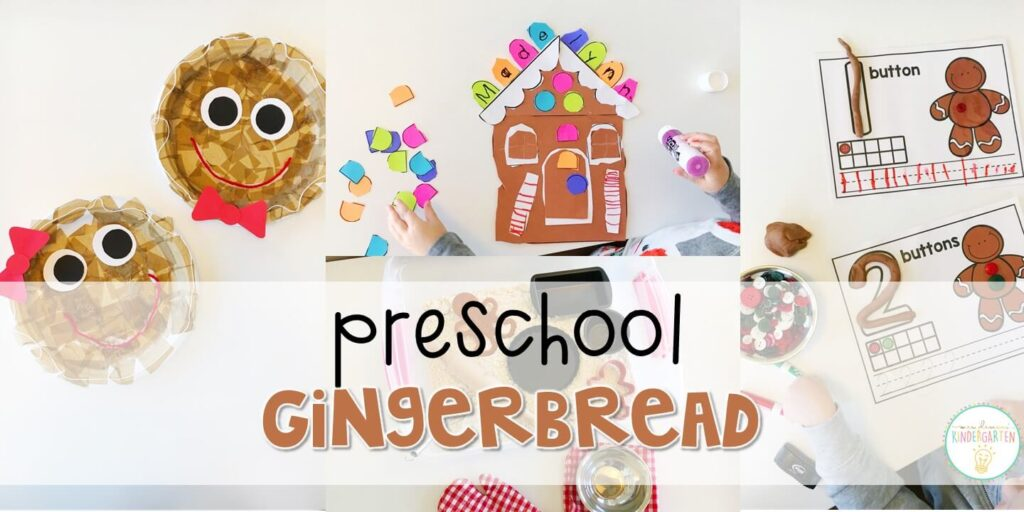 Tons of gingerbread themed activities and ideas. Weekly plan includes books, literacy, math, science, art, sensory bins, and more! Perfect for Christmastime in tot school, preschool, or kindergarten.