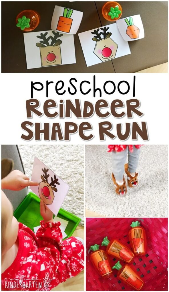 Practice shape identification and gross motor skills with this reindeer shape run. Perfect for a reindeer theme in tot school, preschool, or even kindergarten!