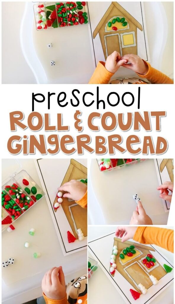 Practice counting and fine motor skills with this roll and count gingerbread house. Perfect for a gingerbread theme in tot school, preschool, or even kindergarten!