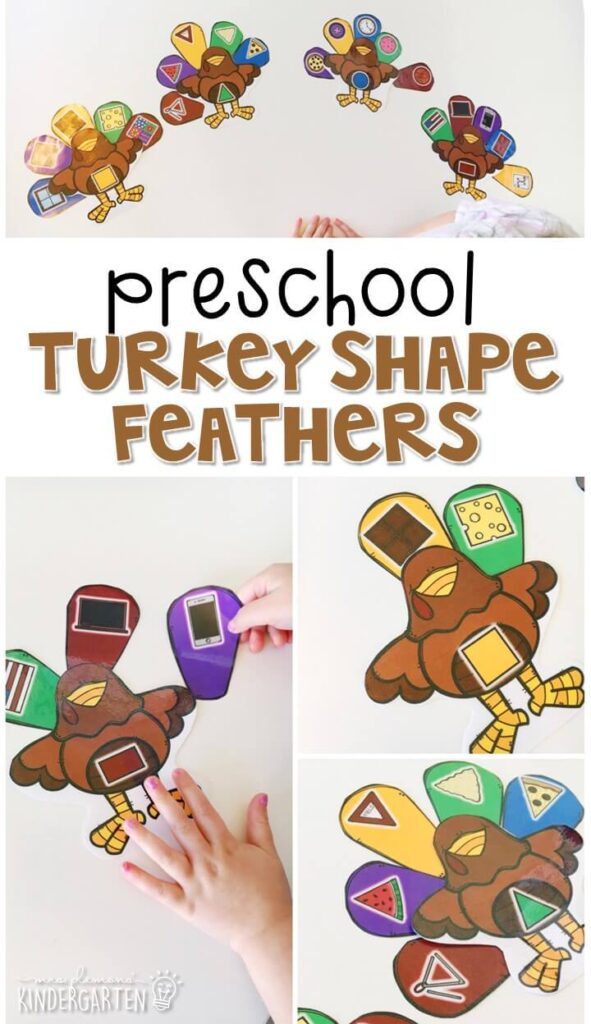 This turkey shape feather activity is a fun way to work on shape identification with a Thanksgiving theme. Great for tot school, preschool, or even kindergarten!