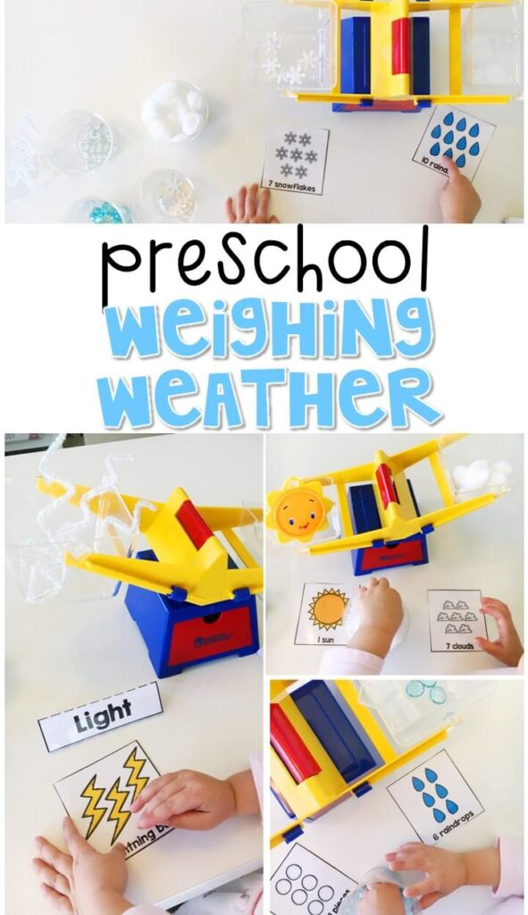 "This hands on ""weighing weather"" activity is a great way to introduce a balance scale and the concept of heavy vs. light. Great for tot school, preschool, or even kindergarten!"