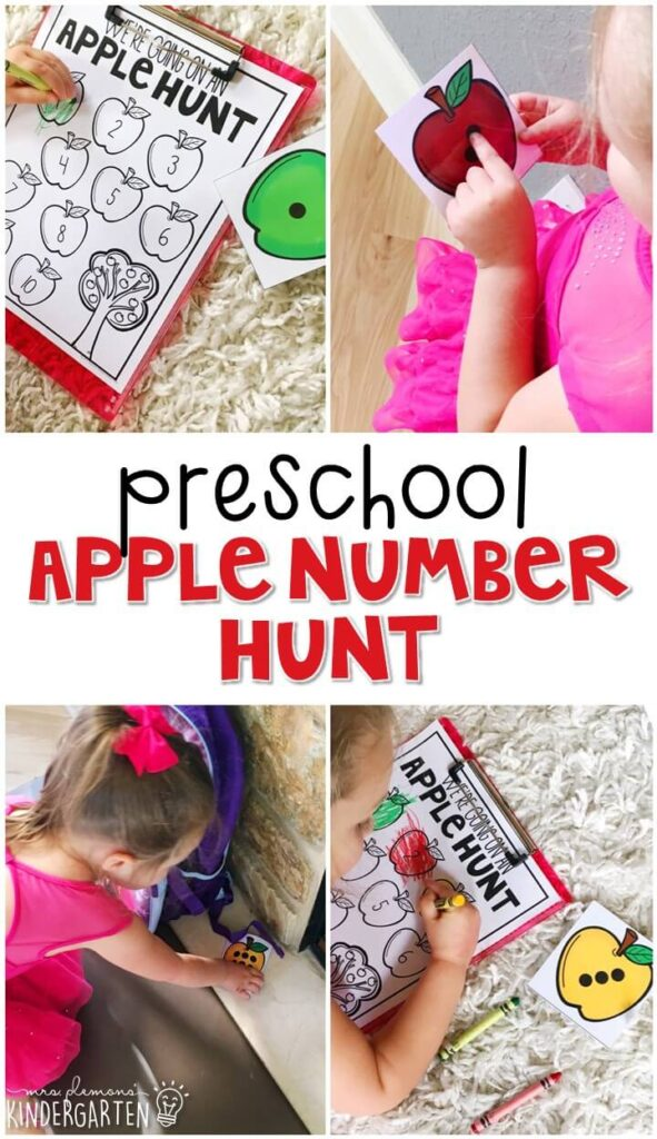 We're going on an apple hunt! Fun activity for number and color recognition. Grab this printable to play! Great for tot school, preschool, or even kindergarten!