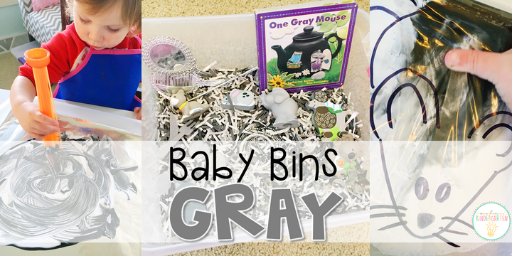 These gray themed sensory bins and activities are great for learning colors and completely baby safe. Baby Bins are the perfect way to learn, build language, play and explore with little ones between 12-24 months old.