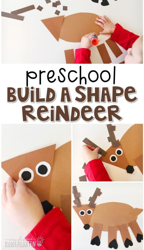 This build a shape reindeer activity is a fun way to practice identifying shapes while creating an adorable craft. Great for tot school, preschool, or even kindergarten!