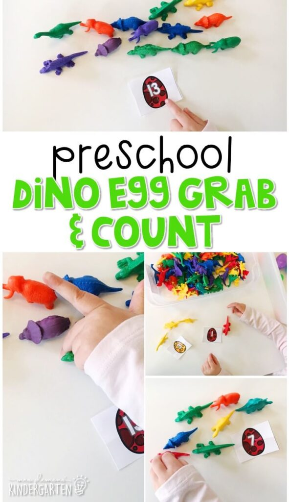 This dinosaur egg grab and count activity is a great way to practice identifying numbers and counting out sets of objects. Great for tot school, preschool, or even kindergarten!