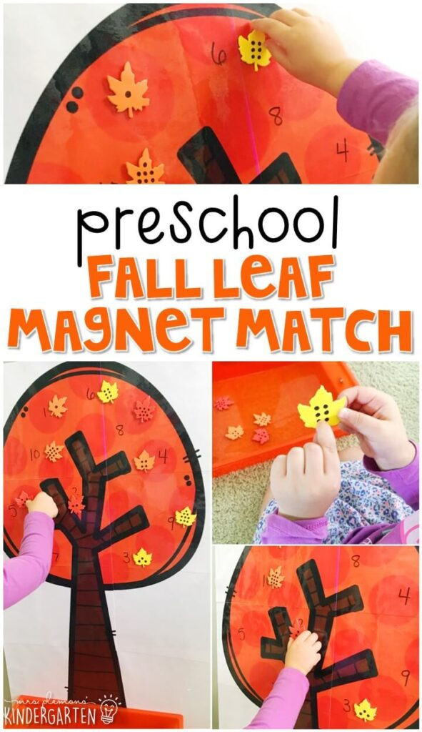 This fall leaf magnet match activity is a super fun way to practice number identification and fine motor skills with a fall theme. Great for tot school, preschool, or even kindergarten!