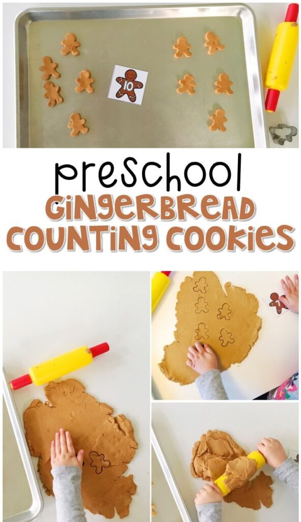 This gingerbread counting cookie activity is a great way to practice identifying numbers and counting out sets of objects. Great for tot school, preschool, or even kindergarten!