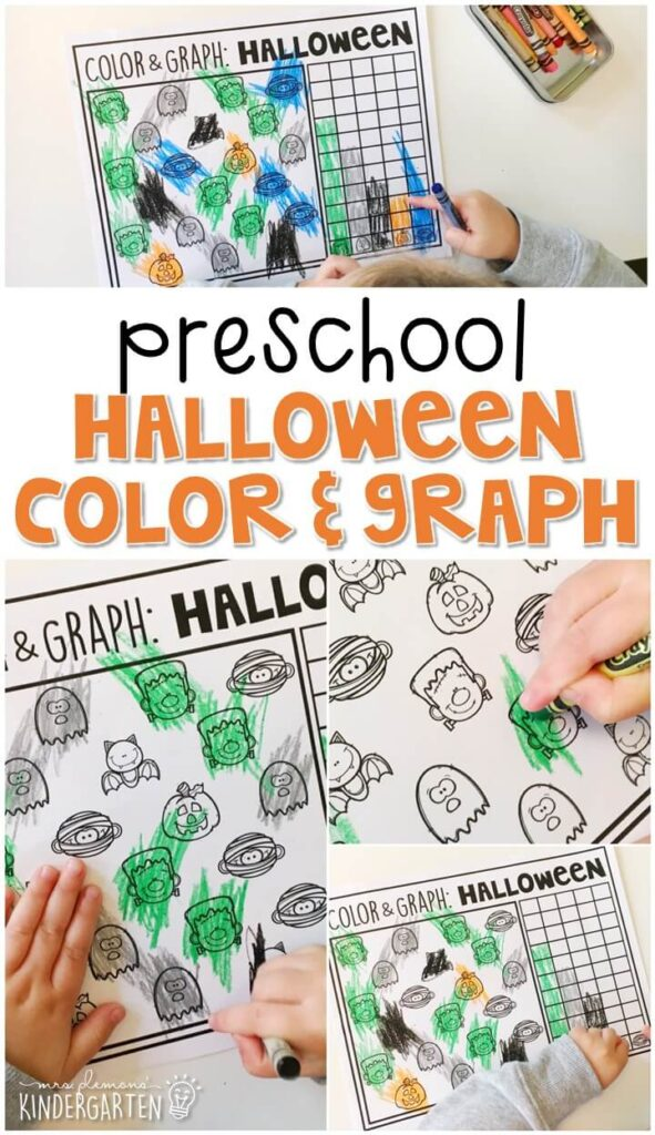 Practice graphing and fine motor skills with this grab and graph spider activity. Perfect for a Halloween theme in tot school, preschool, or even kindergarten!