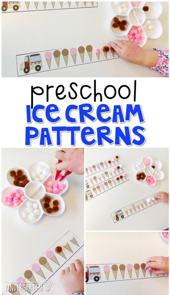 Practice patterning with these ice cream scoop cards. Use the examples for matching, then extending and creating your own patterns. Perfect for a community theme in tot school, preschool, or even kindergarten!