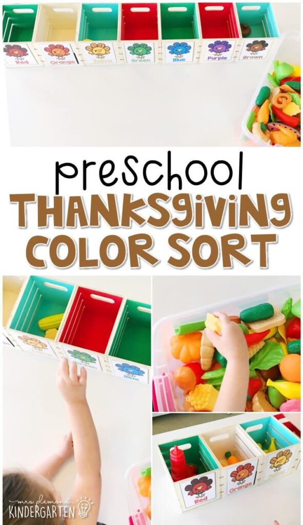 This food color sort is a fun way to work on identifying colors and sorting by one attribute with a Thanksgiving theme. Great for tot school, preschool, or even kindergarten!