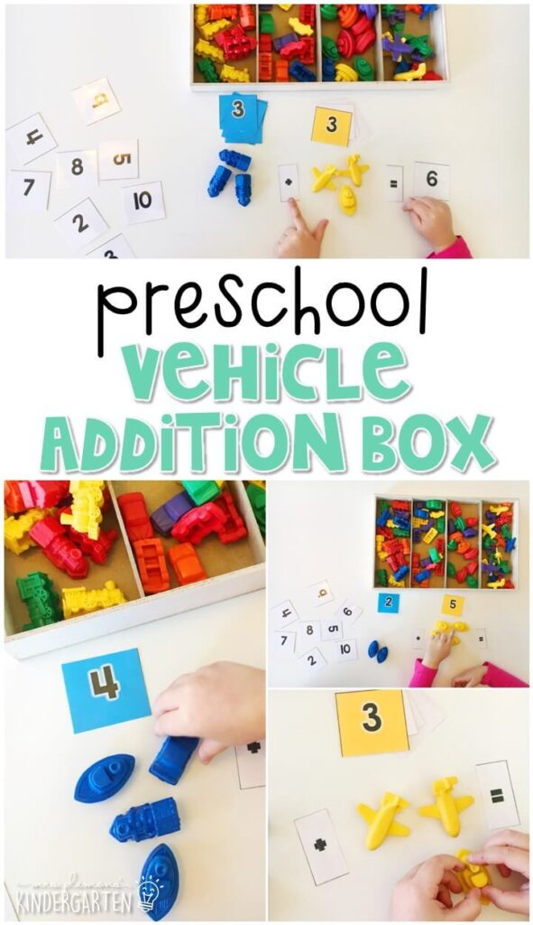 This vehicle addition box activity is a great way to practice identifying numbers, counting out sets of objects, and beginning addition. Great for tot school, preschool, or even kindergarten!
