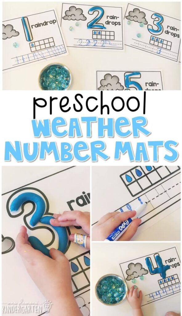 These weather number mats are a super fun way to practice number identification, counting, number writing, and fine motor skills with a weather theme. Great for tot school, preschool, or even kindergarten!