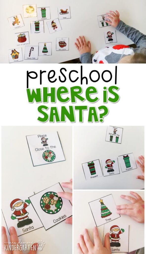 "Practice identifying positional words with this ""Where is Santa?"" game. Perfect for a Christmas theme in tot school, preschool, or even kindergarten!"