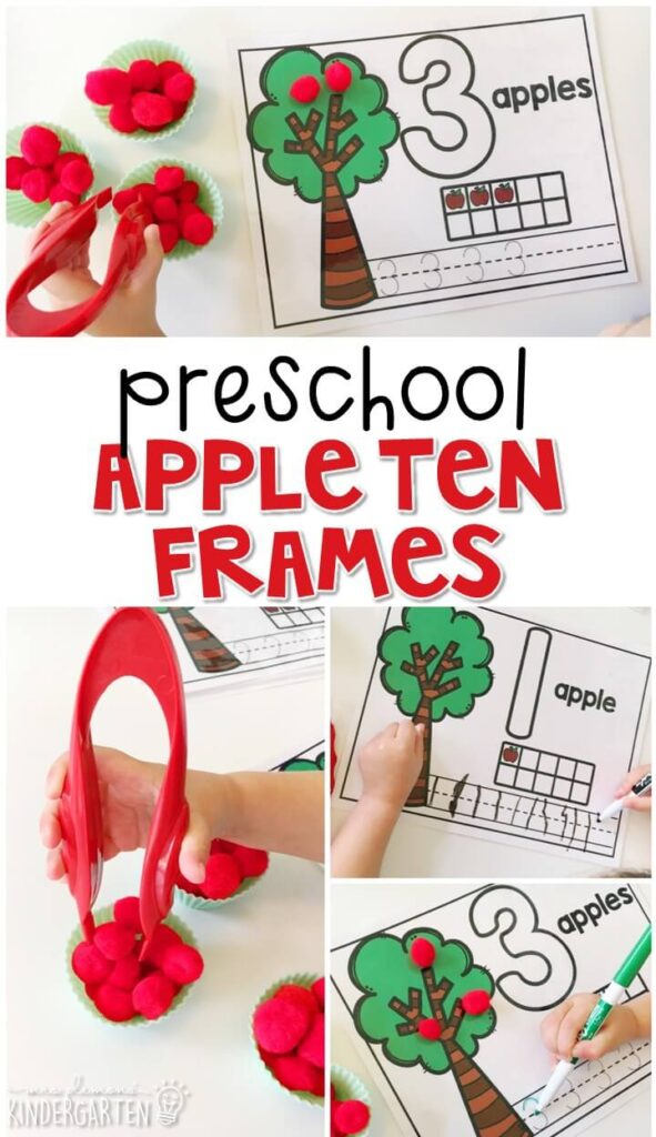 These apple ten frames are a super fun way to practice number identification, counting, number writing, and fine motor skills with an apple theme. Great for tot school, preschool, or even kindergarten!
