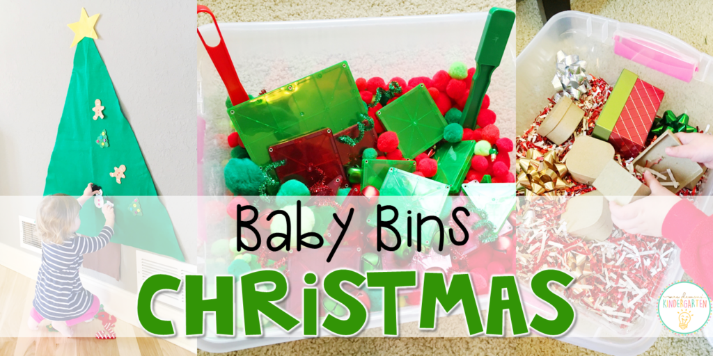 These Christmas themed sensory bins and activities are great for learning and play in the winter and are completely baby safe. Baby Bins are the perfect way to learn, build language, play and explore with little ones between 12-24 months old.
