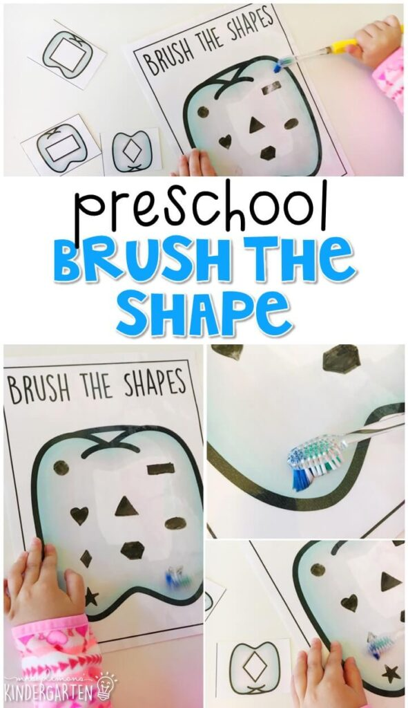 This brush the shape activity is a super fun way to practice making and identifying shapes, and fine motor skills with a healthy habits theme. Great for tot school, preschool, or even kindergarten!
