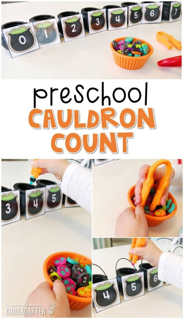This cauldron count activity is a fun way to practice number identification, counting, and fine motor skills with a Halloween theme. Great for tot school, preschool, or even kindergarten!
