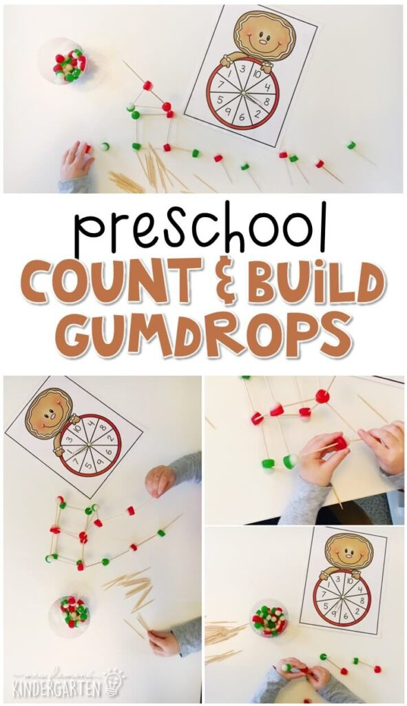 Practice identifying numbers, counting sets of objects, and fine motor skills with this count and build gumdrop game. Perfect for a gingerbread theme in tot school, preschool, or even kindergarten!
