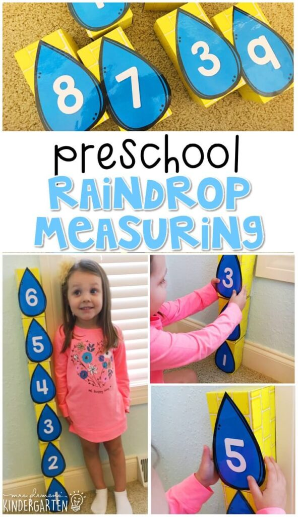 Practice measuring using large blocks and raindrops. Perfect for a weather theme in tot school, preschool, or even kindergarten!