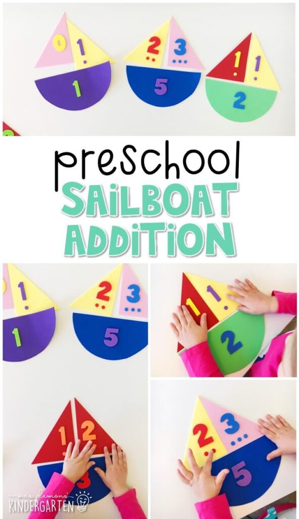 Practice beginning addition with these sailboat addition puzzles. Perfect for a transportation theme in tot school, preschool, or even kindergarten!