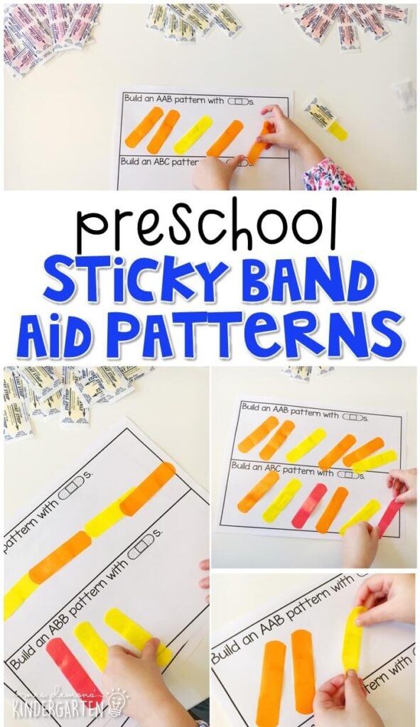 Practice patterning with band aids! Perfect for a community theme in tot school, preschool, or even kindergarten!