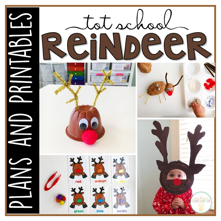 Tons of reindeer themed activities and ideas. Weekly plan includes books, literacy, math, science, art, sensory bins, and more! Perfect for winter in tot school, preschool, or kindergarten.