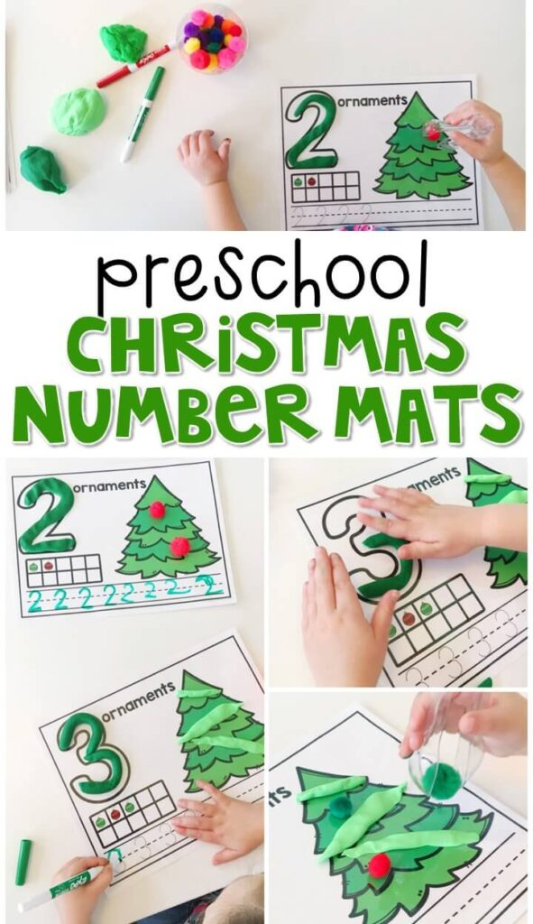 These Christmas number mats are a super fun way to practice number identification, counting, number writing, and fine motor skills with a Christmas theme. Great for tot school, preschool, or even kindergarten!