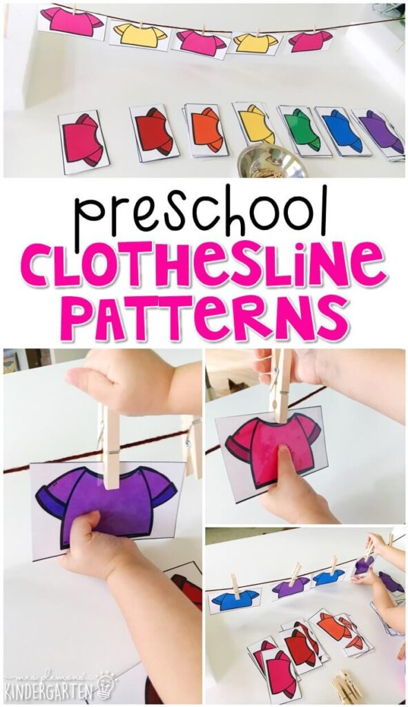 This clothesline pattern activity is a super fun way to practice making patterns and fine motor skills with an all about me theme. Great for tot school, preschool, or even kindergarten!