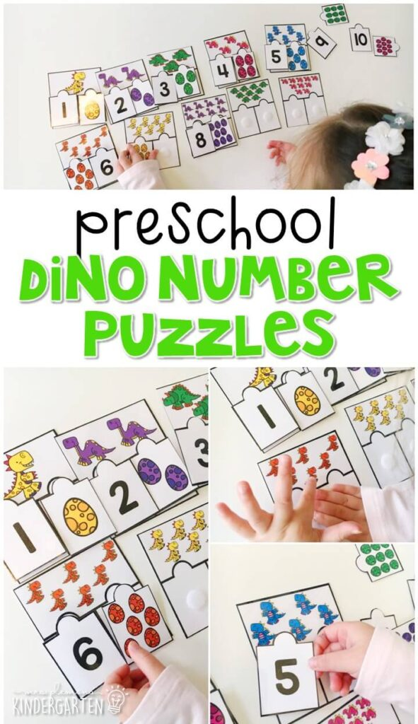 Practice identifying numbers and counting sets of objects with these dino number puzzles. Perfect for a dinosaur theme in tot school, preschool, or even kindergarten!