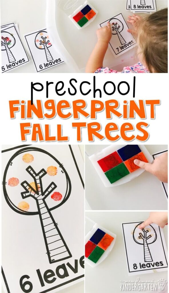 These fall fingerprint trees are a super fun way to practice number identification, counting, and fine motor skills with a fall theme. Great for tot school, preschool, or even kindergarten!