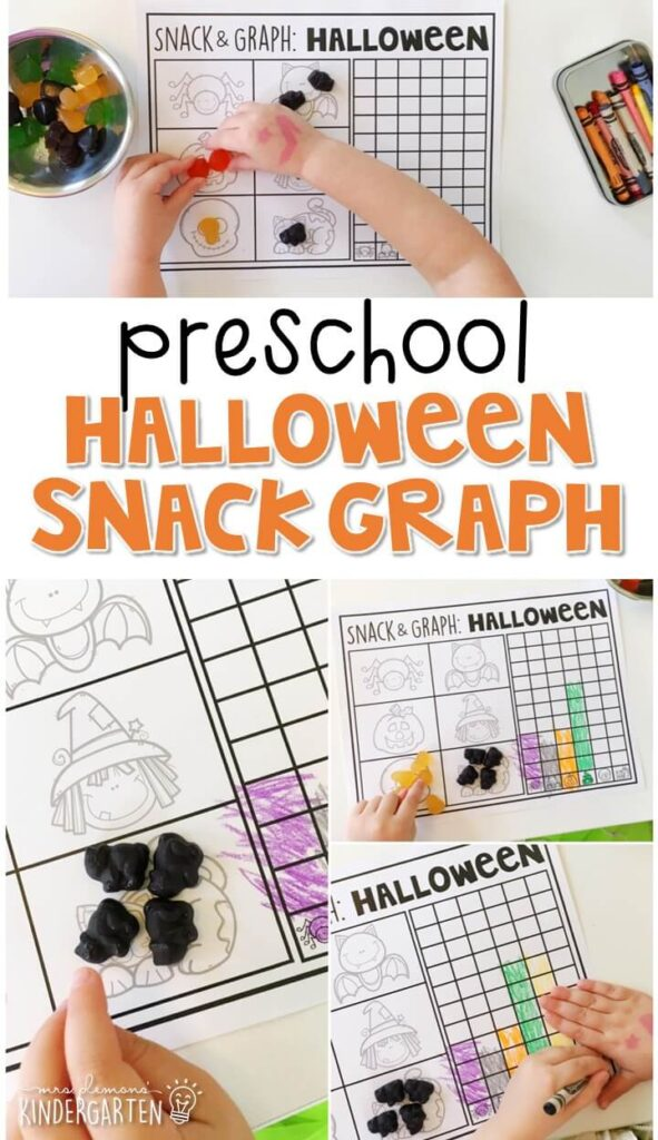 Practice graphing and sorting skills with this Halloween snack and graph activity. Perfect for a Halloween theme in tot school, preschool, or even kindergarten!