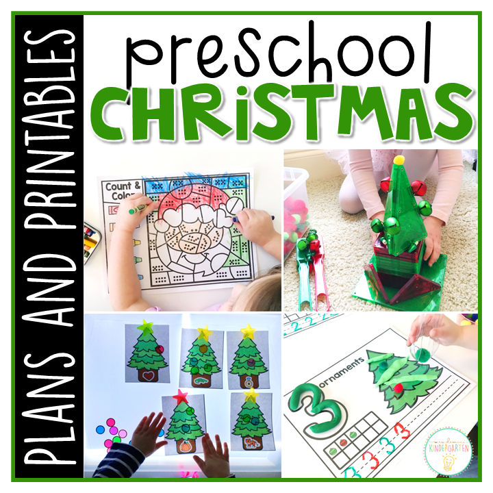 Tons of Christmas themed activities and ideas. Weekly plan includes books, literacy, math, science, art, sensory bins, and more! Perfect for winter in tot school, preschool, or kindergarten.