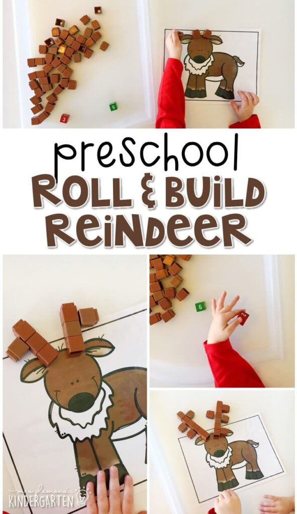 These roll and build reindeer mats are a super fun way to practice number identification, counting, and fine motor skills with a reindeer theme. Great for tot school, preschool, or even kindergarten!