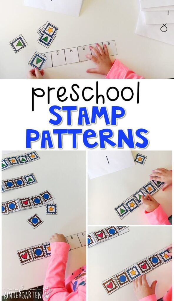 Practice patterning with these stamp pattern cards. Use the examples for matching, then extending and creating your own patterns. Perfect for tot school, preschool, or even kindergarten!