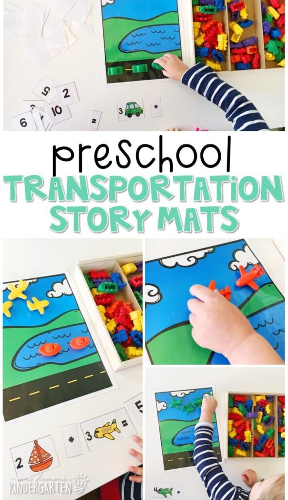 These transportation story mats are a super fun way to practice beginning addition with a transportation theme. Great for tot school, preschool, or even kindergarten!