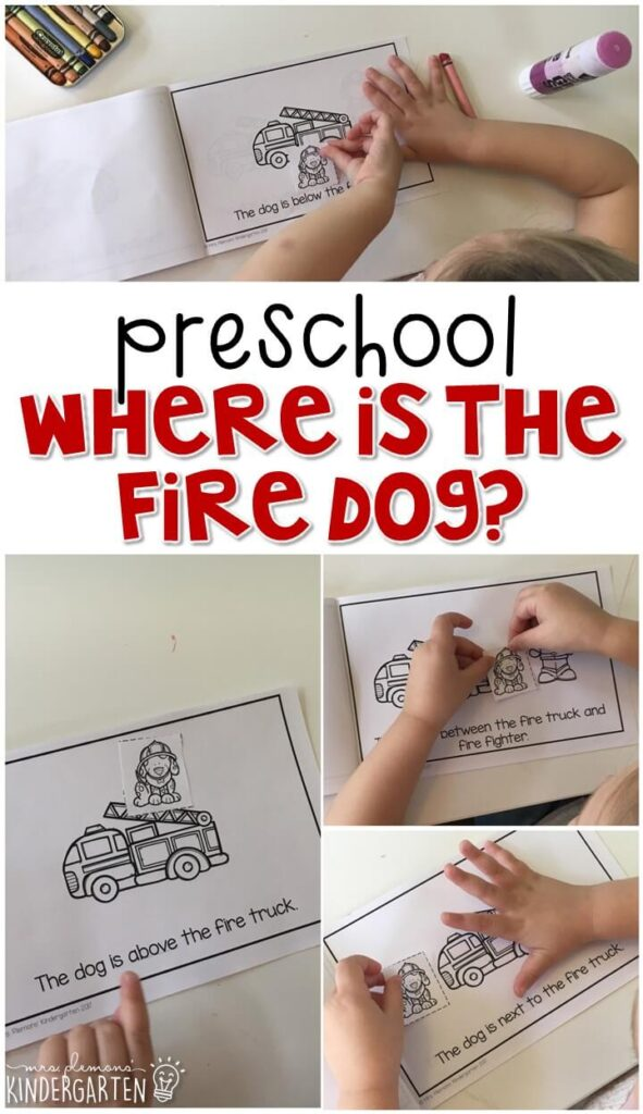 """Learn about positional words with this """"Where is the Firefighter?"""" hands on game. Great for tot school, preschool, or even kindergarten!"""