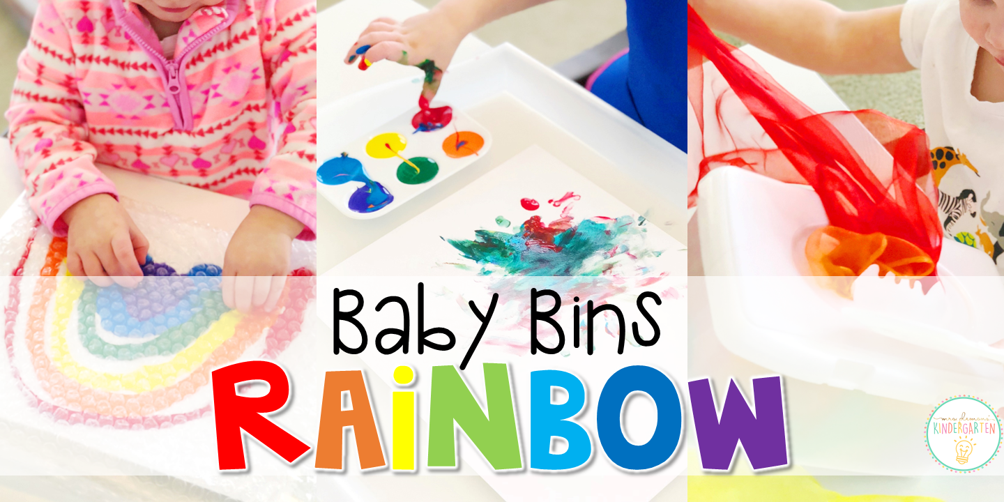 These rainbow themed sensory bins and activities are great for learning colors and completely baby safe. Baby Bins are the perfect way to learn, build language, play and explore with little ones between 12-24 months old.