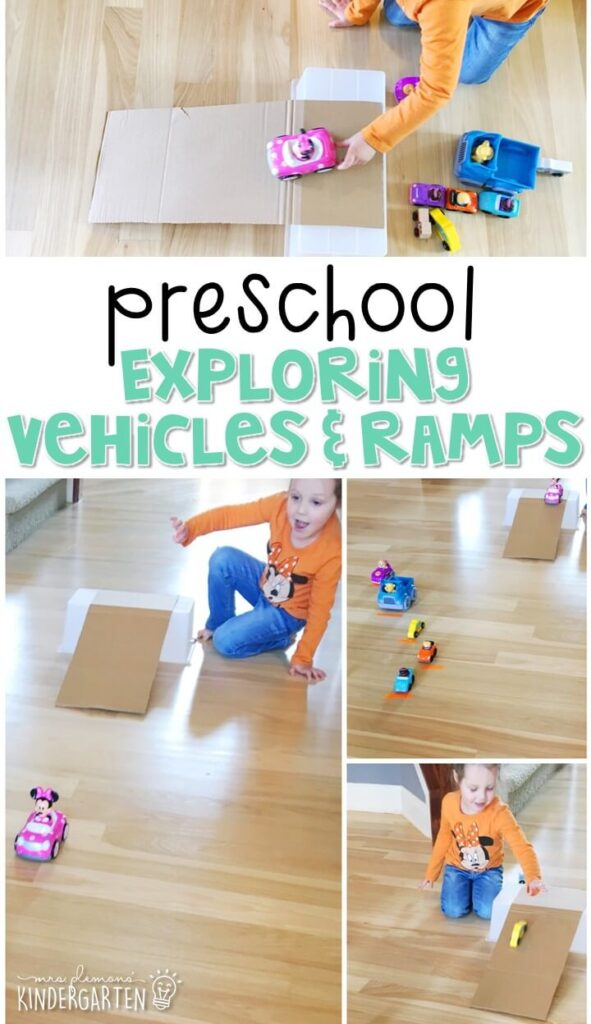 Explore vehicles and ramps with this STEM activity. Great for a transportation theme in tot school, preschool, or even kindergarten!