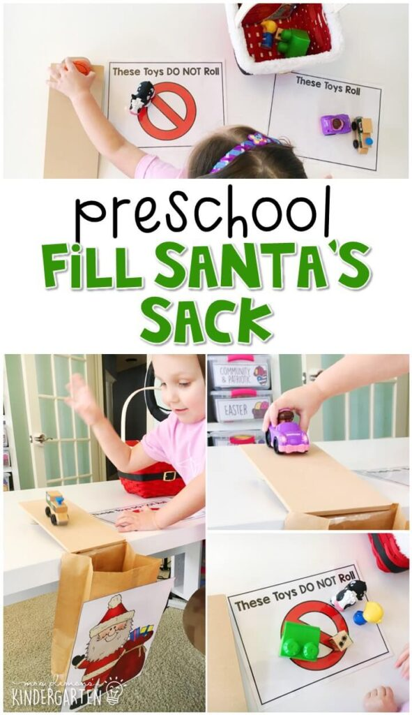 This fill Santa's Sack activity was a fun way to explore force and motion. Perfect for a Christmas theme in tot school, preschool, or even kindergarten!