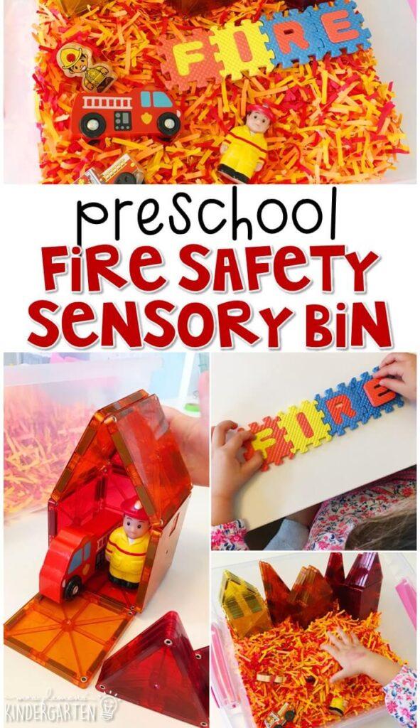 We LOVE this fire safety sensory bin. Great for tot school, preschool, or even kindergarten!