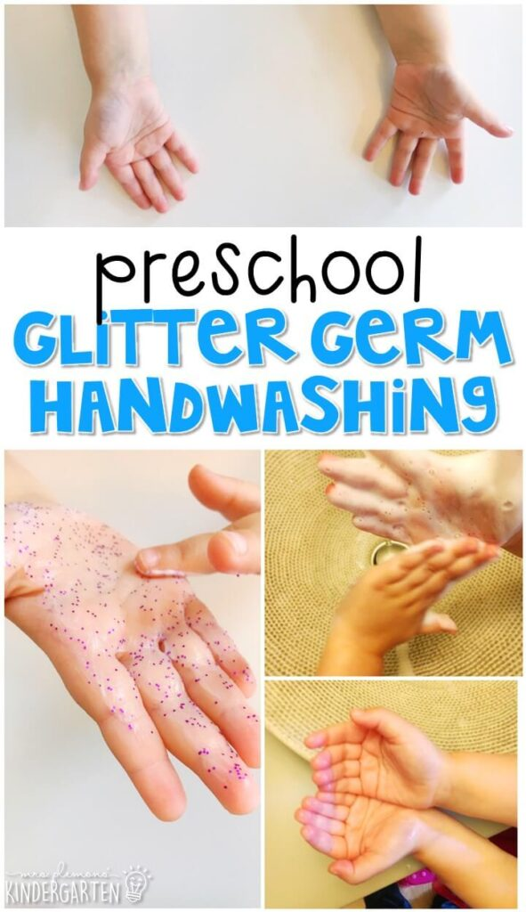 This glitter germ handwashing activity is a great way to reinforce healthy habits. Great for tot school, preschool, or even kindergarten!