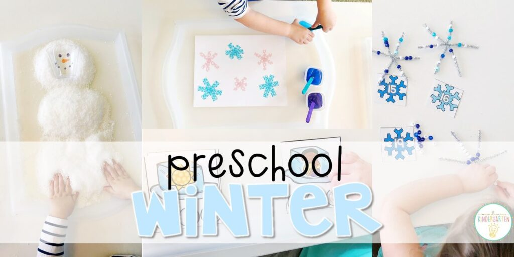 Tons of winter themed activities and ideas. Weekly plan includes books, literacy, math, science, art, sensory bins, and more! Perfect for winter in tot school, preschool, or kindergarten.