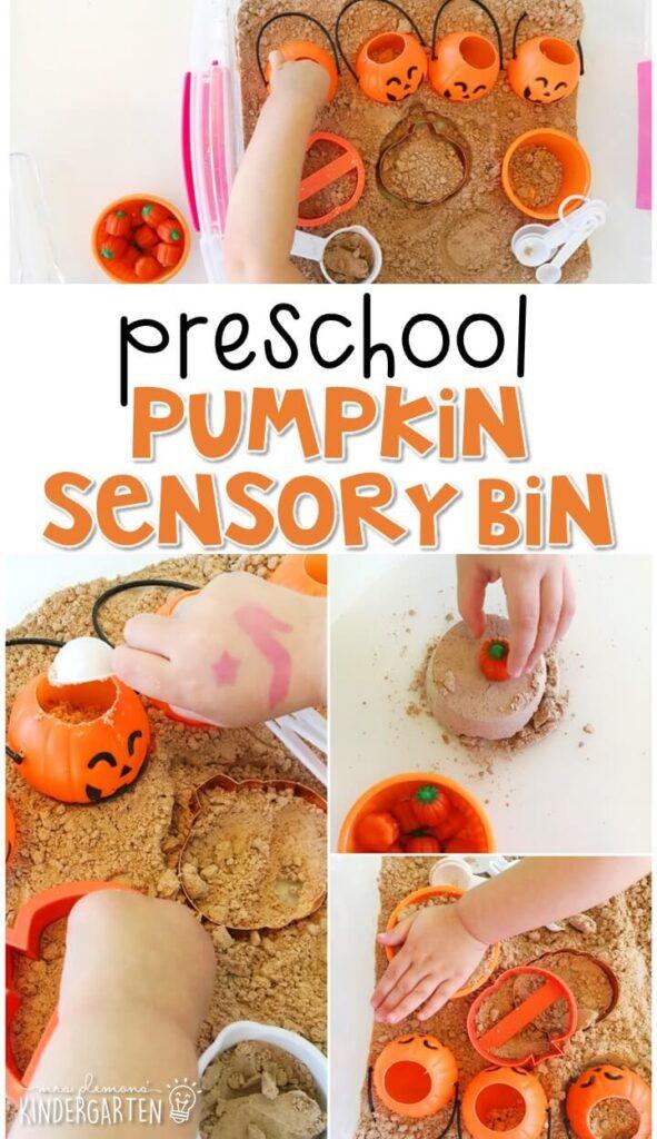 We LOVE exploring shapes and textures with this pumpkin cloud dough sensory bin. Perfect for a Halloween theme in tot school, preschool, or even kindergarten!