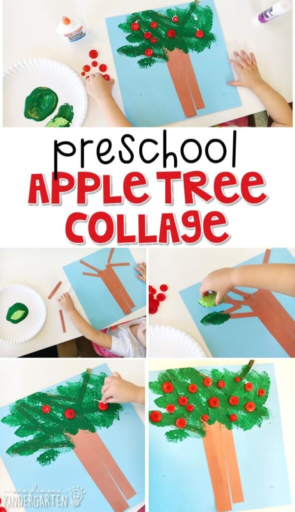 This apple tree collage is an adorable craft that incorporates lots of fine motor skills practice. Great for tot school, preschool, or even kindergarten!