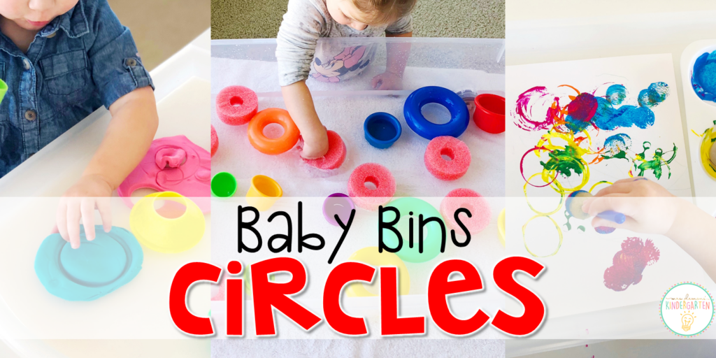 These circle themed sensory bins and activities are great for learning shapes and completely baby safe. Baby Bins are the perfect way to learn, build language, play and explore with little ones between 12-24 months old.