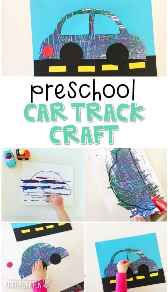 This car track craft was a fun way to incorporate lots of different kinds of fine motor practice. Great for a transportation theme in tot school, preschool, or even kindergarten!