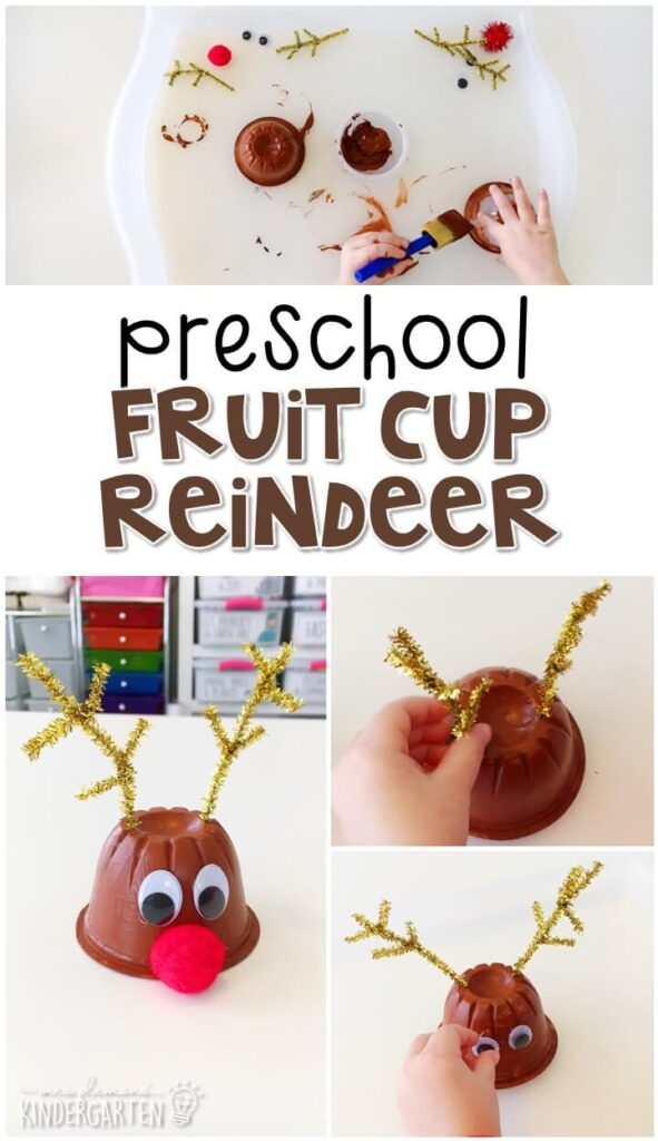 This fruit cup reindeer craft was a fun way to create our own reindeer. Great for tot school, preschool, or even kindergarten!