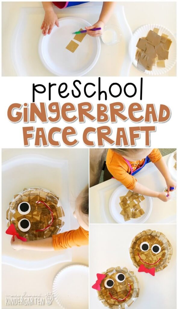 We LOVE this gingerbread building sensory bin. Perfect for exploration with a gingerbread theme in tot school, preschool, or even kindergarten!