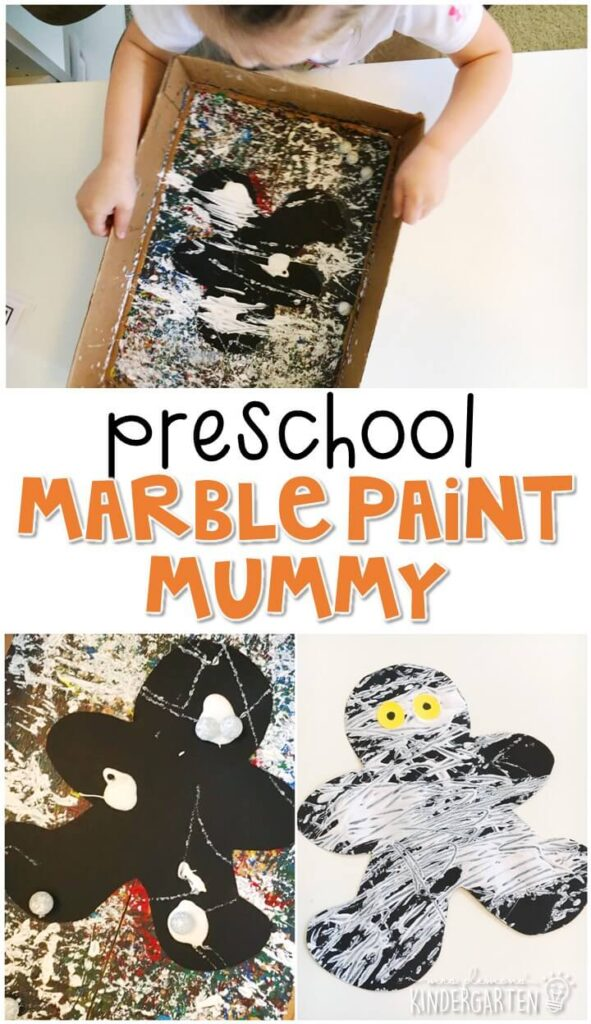 These marble paint mummies turned out so cute. Great quick craft for Halloween in tot school, preschool, or even kindergarten!